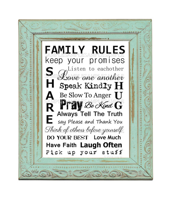 8.5 X 11 -Family Rules – Transfer Image – Digital Printable Download – Scrapbook – Crafts – Graphic Design- Romantic French by CountryAtHeart2008