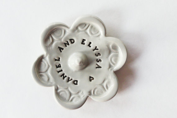 Personalized Ring Holder Bowl With Custom Message, Ceramic Pottery, Takes 1-2 weeks to Produce by MissPottery