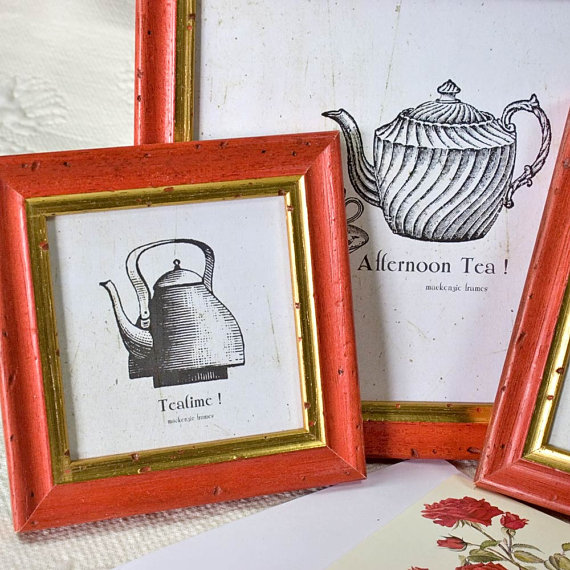4x4inch square narrow Red and Gold frame by mackenzieframes