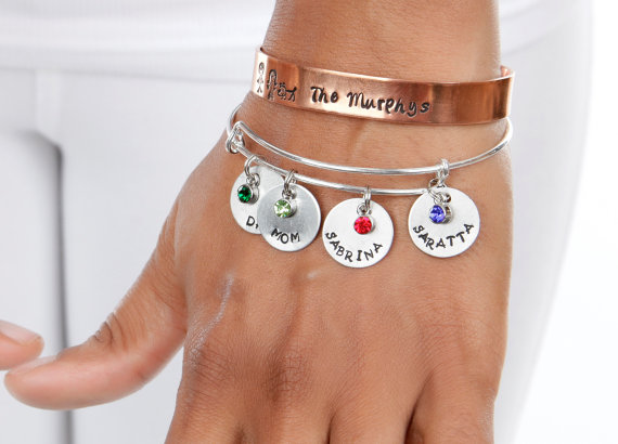 Birthstone Family Engraved Aluminum or Copper Discs Bangle Family Mother Gift Expressions Bracelets Made in the USA ENGRAVED Jewelry by ExpressionsBracelets