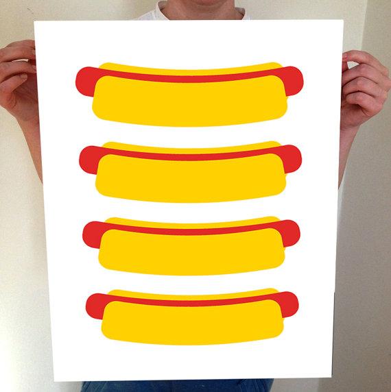 Hot Dogs! Hot Dog Print, Hot Dog Art, Hot Dog, Hot Dog Poster, Hot Dog Artwork, Kitchen, Kitchen Art, Kitchen Poster, Kitchen Print by BentonParkPrints