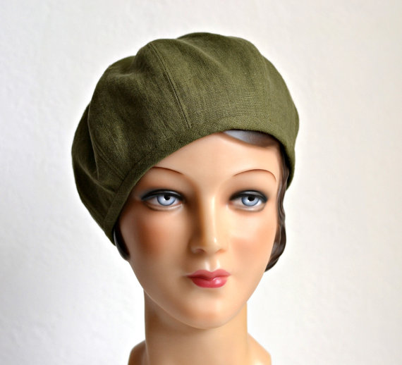 Women's Beret in Green Linen with Bamboo Jersey Lining – MADE TO ORDER by HatsWithAPast