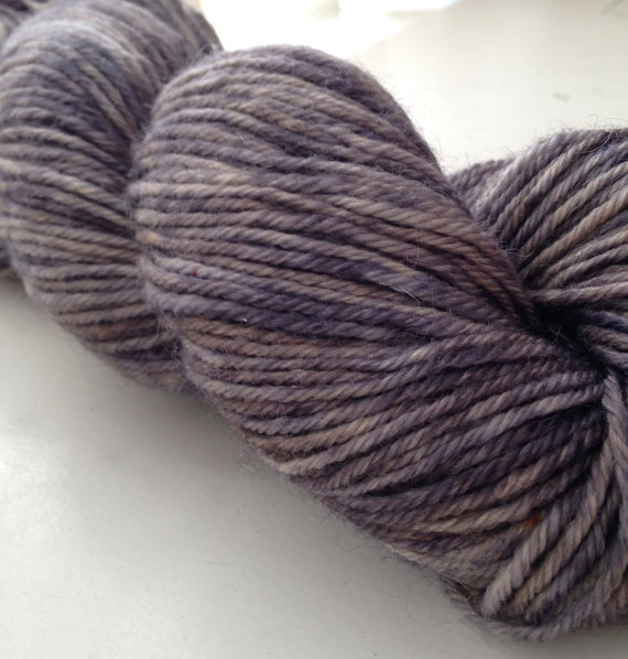 Mohair and Merino hand dyed yarn, grey, MADE TO ORDER worsted weight, Smoke by knitsinclass