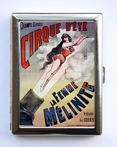 Vintage French Circus Poster Cigarette Case Wallet Business Card Holder Human cannonball sideshow performers freaks by che655