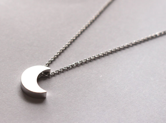 Tiny Moon Necklace, Moon Silver Necklace, Small Crescent Moon Grey by Fr33na