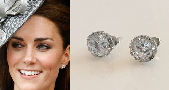 Kate Middleton Inspired Sterling Silver Halo Cubic Zirconia Crystal Stud Earrings by tudorshoppe