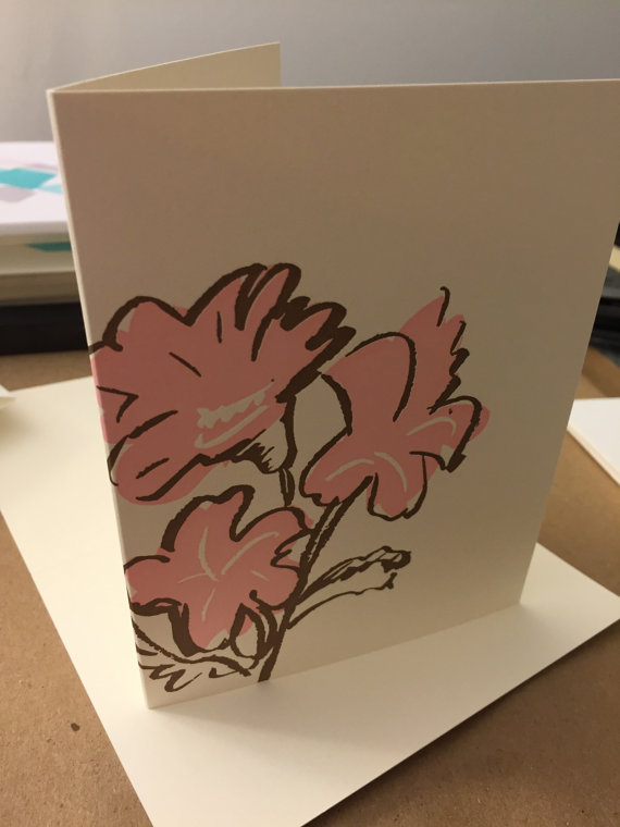3 Flowers Letterpress Cards (set of 6 cards) by thepaperpeony
