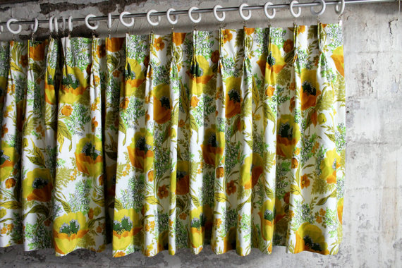 Vintage Poppy and Fern Drapery Panel by therhubarbstudio