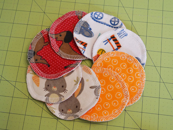 Reusable Nursing / Breast Pads, SET of 8 pads, Flannel, Reversible, Washable, Breastfeeding, Size SMALL, S04 by greenchildcreations