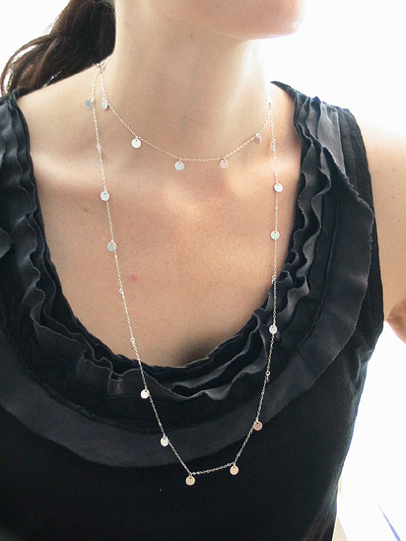 Jules Cobb Cougar Town Sterling Silver Disc Necklace 48 inches by TrinketsByLisaT