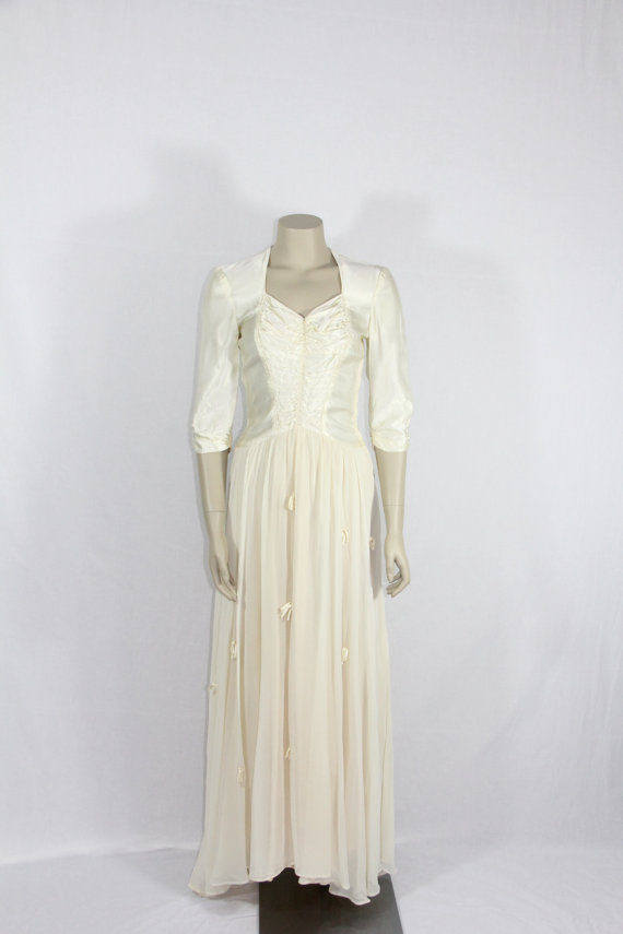 1930's Vintage Wedding Dress – Ivory Satin and Chiffon Wedding Gown – 34/25 / full by VintageFrocksOfFancy