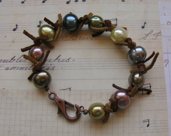 Large Multicolored Pearl and Suede Bracelet-7 1/2 inches or 19 cm by MarteenysJewelry