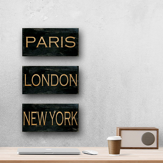 Set of 3 Canvas Wrap City Signs, Paris, London & New York, Rustic Wall Art, Black and Tan, 10×20 & quot; Each, SAVE 20% by AgedPage