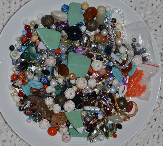Assorted Loose Beads Broken Jewelry Lot Destash # 3 – Colorful Jumble – Mix – Stone – Glass – Plastic – Wood – Resin – Variety Beads by ArtsyDove