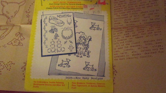 Vintage Aunt Marthas Hot Iron Transfer ~ unused ~ # 3628 ~ New Baby Designs by bethbunny