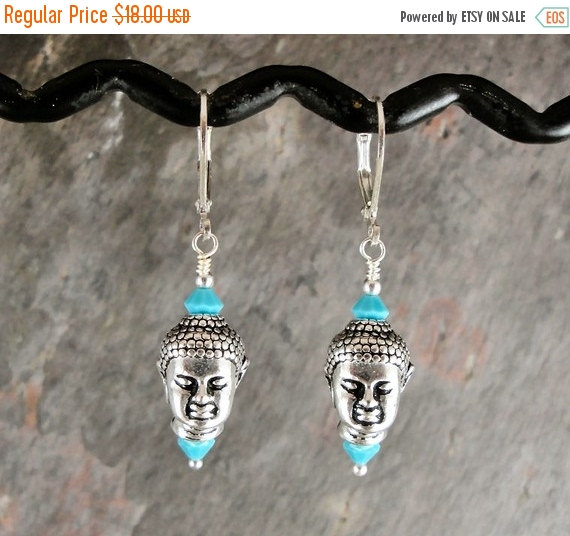 Holiday Sale Buddha earrings, turquoise blue, handmade with pewter and crystal, Nirvana, Tpmb by thepinkmartini
