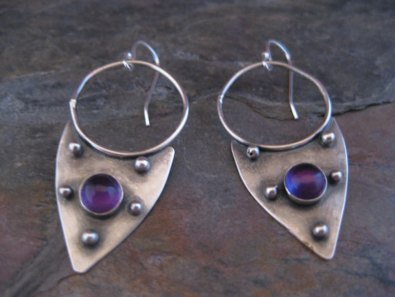 Amethyst Armor Earrings by StrawberryFrog