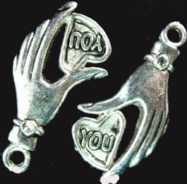 4 Antique Silver YOU Heart In Hand Charms For Jewelry Fashion Art Craft Projects by DinoCreator