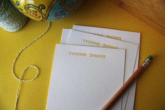 Personalized Letterpress Notecards – Personalized Stationery – Set of 50 by Honizukle