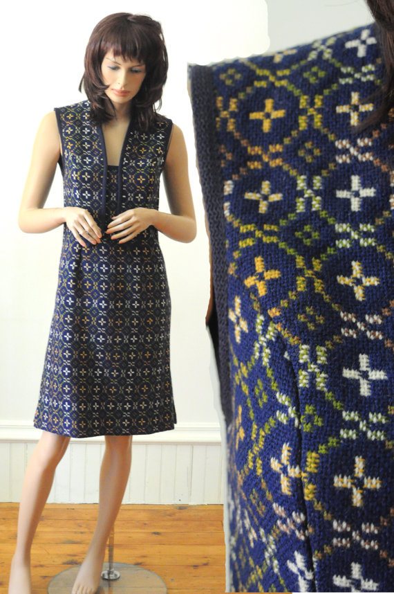 1960's EMBROIDERED BLUE DRESS Vintage Wool Tunic with Clutch by rockthisvintage