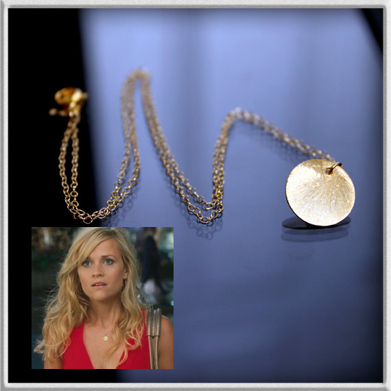 Reese Witherspoon's CIRCLE Necklace – 24k GOLD VERMEIL, Disc Gold Necklace, Brushed Gold Coin Necklace, Sun Drop Necklace by MazuMazu