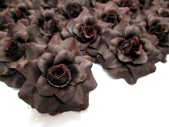 24 Brown mini Roses Heads – Artificial Silk Flower – 1.75 inches – Wholesale Lot – for Wedding Work, Make Hair clips, headbands, hats by FayFlowerShop