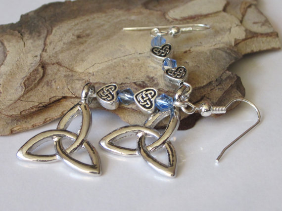 Celtic Dangle Earrings Silver Triquetra Celtic Knot Aquamarine Blue Swarovski Crystals Celtic Hearts Beaded Chandelier by DanglingDesigns