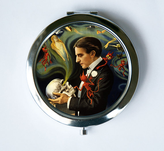 Magician Compact MIRROR Pocket Mirror spirits devils by che655