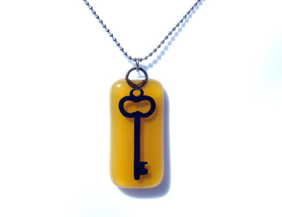 Glass Key Pendant with Choice of Chain – Hand Painted Skeleton Key Necklace – Fused Glass by TwoCatsAndADog