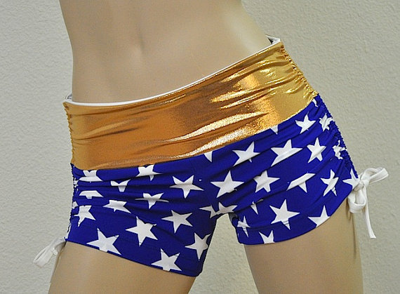 Hot Yoga Shorts Blue and Gold Stars by SXYfitness