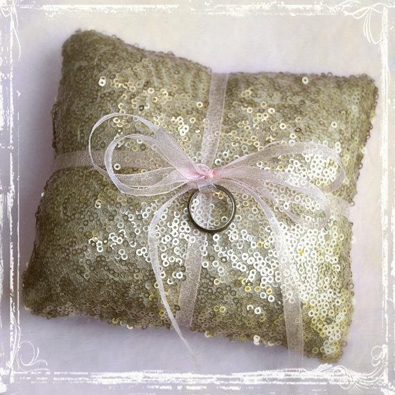 Gold Sequin Ring Bearer Pillow – Custom Ribbon Color – Glamorous Elegant Weddings – Sparkle Sequins Sparkly Shiny Modern Glam Glamour Blush by sparkleandposy