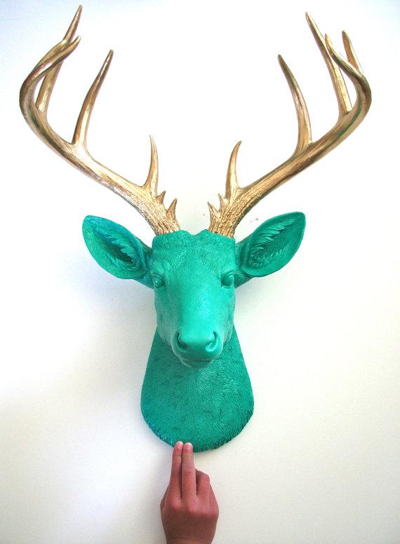 TEAL with Gold Antlers XL Faux Taxidermy Deer Head wall mount wall hanging // wall art // nursery decor // office wall decor // woodland by mahzerandvee