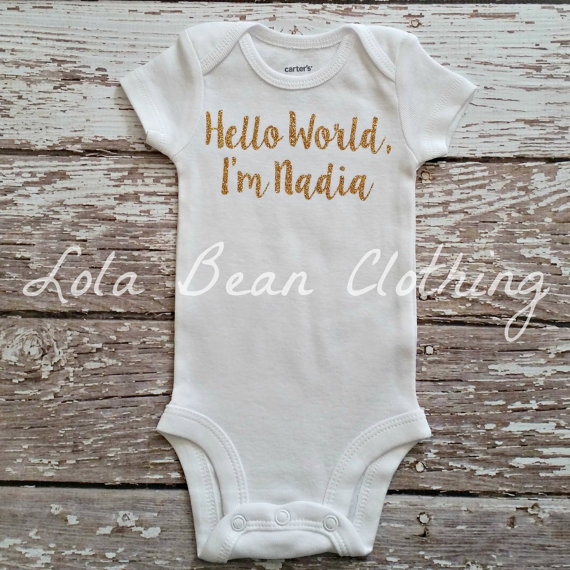 db09801bb Baby Girl Take Home Outfit Newborn Baby Girl Hello World Onesie Gold  Glitter Silver Glitter Customized Custom Name Onesie Personalized by  LolaBeanClothing