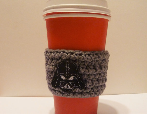Crochet Coffee Cozy – Crochet Coffee Cozy with Felt Darth Vader Applique by PartTimeDiva