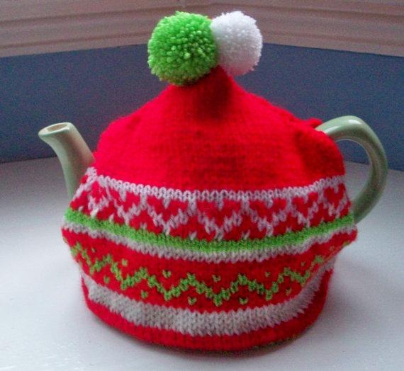 Large Tea Cosy, Winter, Christmas, Scandinavian style, red, green, unique fun knit by SpinningStreak by SpinningStreak