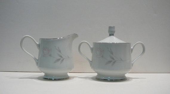 Vintage Creamer Sugar Bowl Set Monique Royal Prestige Lynnbrooke Fine China Japan Dinnerware White Porcelain Pink Roses Flowers by EvelynnsAlcove