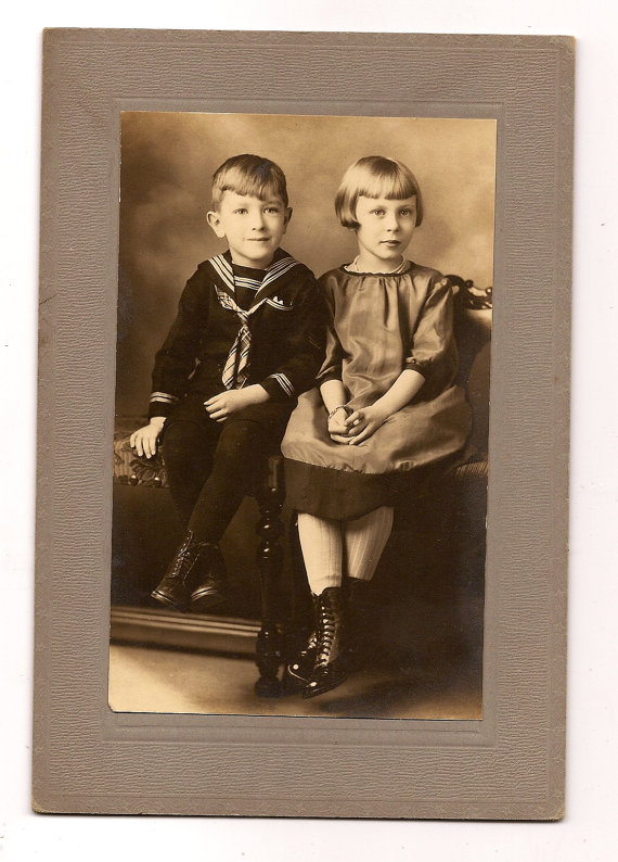 Cabinet Card Brother and Sister Cute Sailor Suit and Dress by poodle55