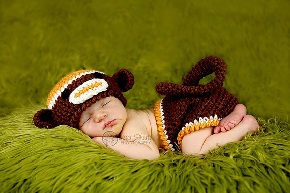 Sock Monkey Beanie Hat and Matching Monkey Diaper Cover – Photography Prop (Brown, Burnt Orange and Cream) by BuggyD