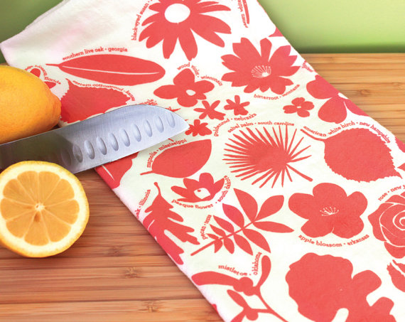 Kitchen Towel – 50 State Trees & Flowers – Coral botanical tea towel by peppersprouts