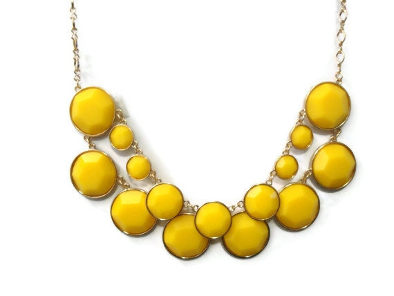 Yellow Statement Necklace, Yellow Circle Bauble Necklace, Anthropologie Necklace, Statement Yellow Bib Necklace, Christmas Gift Idea by MidnightGirls
