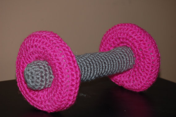 Hot Pink Dumbbell Photo Prop for Baby by MoMmAb7