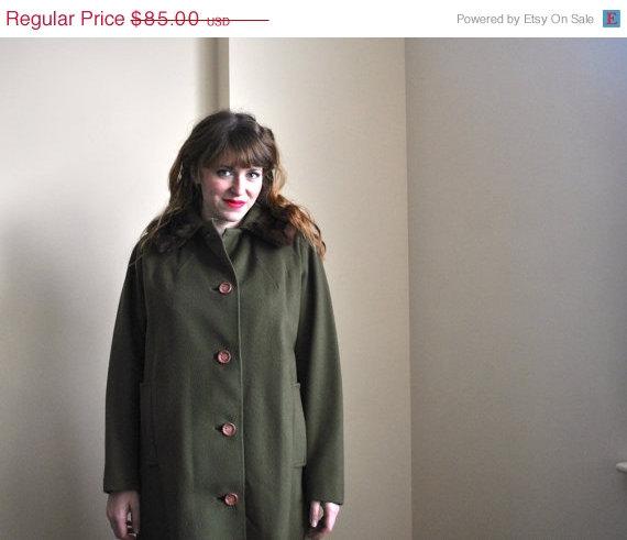 50s Olive Green Coat – Wool Coat – Mink Fur 1950s Wool Swing Coat by WayfaringMagnolia