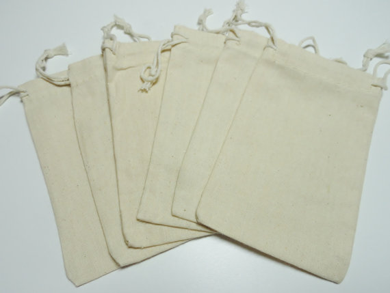 Cotton Muslin Bags, Twelve 4X6 Natural Cotton Gift Bags, Special Occasion Bags by TwoOfAKindSupplies