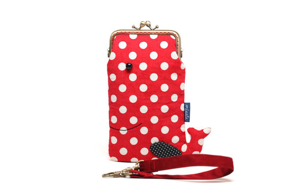 Rosy red whale smartphone kisslock sleeve by misala