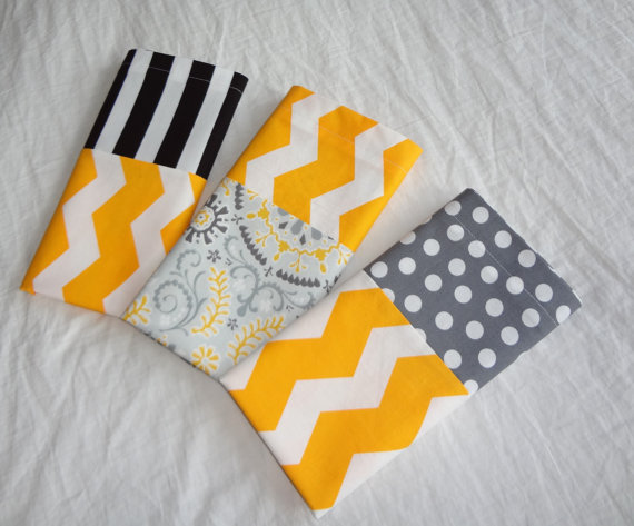 Travel Size Pillow Case – Gray and Yellow Floral WITH Yellow Chevron Cuff by PinkBean