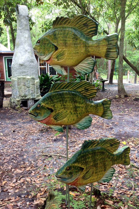 Two sided 3D Fish on a post / pole / rod YOU pick fish species wooden chainsaw carving sealed rustic art outdoor home centerpiece rustic decor by oceanarts10