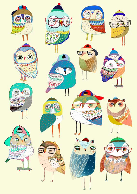 Owl Party. wall decor for kids, art prints, kids wall art, home decor, childrens wall art, wall decor, illustration print, digital prints. by AshleyPercival