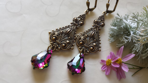 Antique Brass Swarovski Baroque Crystal Pendant Victorian Filigree Lever Back Earrings, Dainty Everyday Earrings, Vintage Inspired Jewelry by yakarina