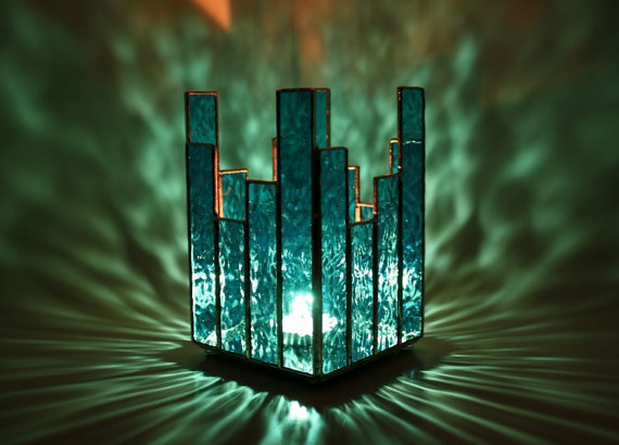 Candle Holder Turquoise Blue Stained Glass by GailsGlassGarden