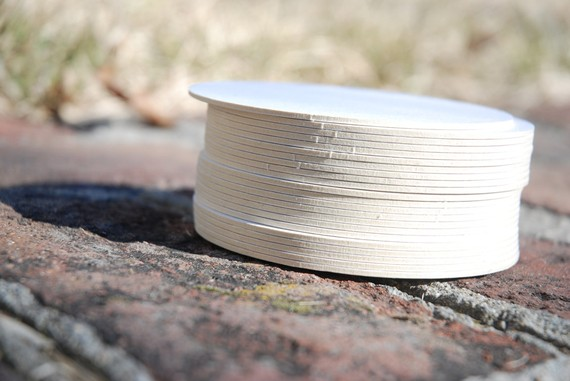 250 Blank 4 inch Round Coasters, heavyweight (2.0mm). Perfect for letterpress, crafts, etc. Made of recycled pulpboard paper by ladybugpress